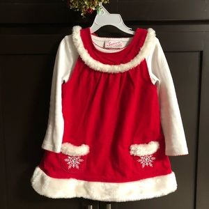 Girls corduroy red & white dress with snowflakes